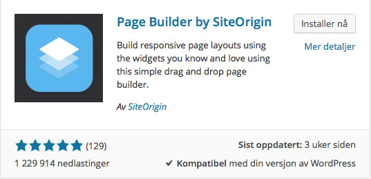 Page Builder by SiteOrigin. Skjermbilde.