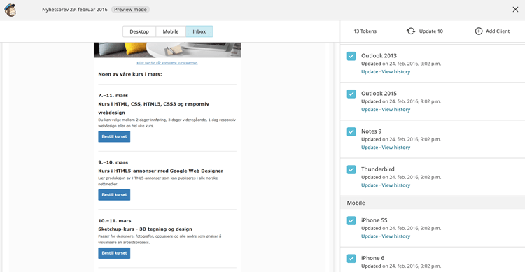 MailChimp - Inbox Preview. Skjermbilde.