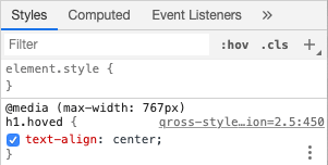 Styles, Chrome. Skjermbilde.
