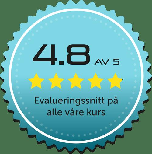 4.8 av 5 - evaluering av våre kurs